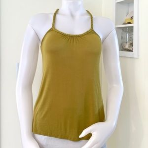 braided racerback chartreuse stretchy tank top